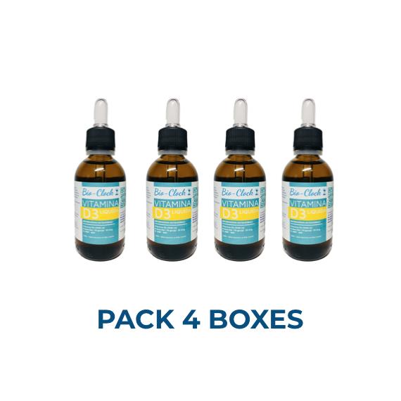 VITAMIN D3 - VEGAN - PACK 4 BOXES -  LIQUID VITAMIN D SUPPLEMENTS 1000IU